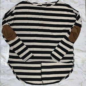 Striped long sleeve shirt w/ brown elbow patches